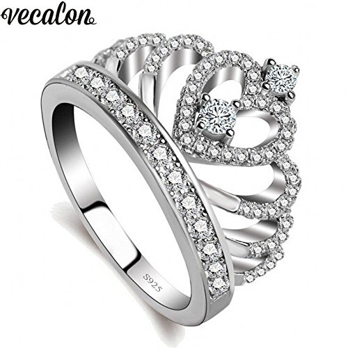 Amazon.com: Lovers Crown Ring - Silver Engagement Wedding Band - Lovely Gift for Girl Friend - Sparkling Elegant Design - Suitable for Many Styles - Luxury ...