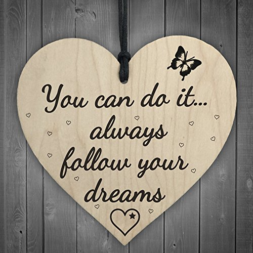 XLD Store Follow Your Dreams Wooden Hanging Heart Shaped Plaque Shabby Chic Inspirational ()