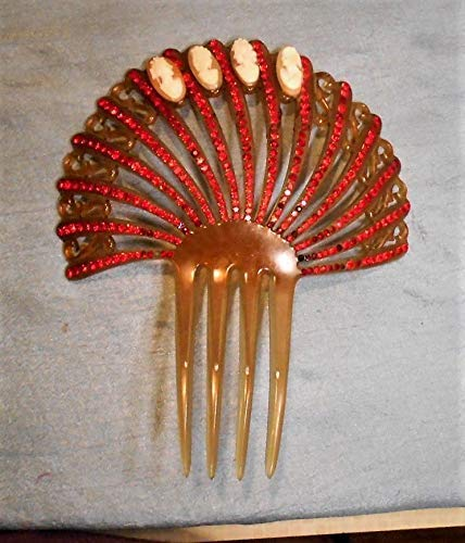 (1940 Cameo Victorian Rhinestone Hair Comb Antique Honey Red Stones Mantilla w/ 4 Small Hand Carved Cameos 2 Right Facing 2 Rare Left Facing)