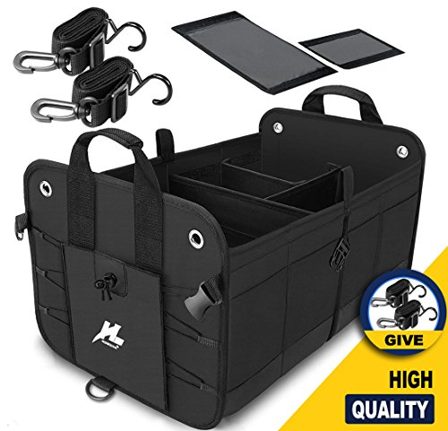 HUANZHAN Car Trunk Organizer, Auto Portable Collapsible Trunk Cargo Storage Organizer Carrier with Straps for Car/Truck / SUV/Van (New Version)