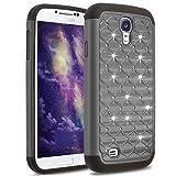 Galaxy S4 Case,Jaweke Soft Silicone Hard Plastic Heavy Duty Shock Proof Studded Rhinestone Crystal Bling Diamond Hybrid Dual-Layer Armor Defender Protection Cover For Samsung Galaxy S4(Black/Black)