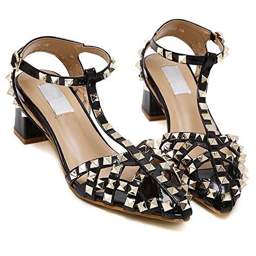 Womens Adora Rivet Studded Cutout T-strap Ankle Buckle Chunky Heel Pump Sandal Shoes No.247 Black tL8Uio