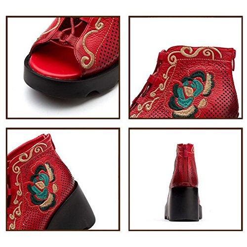 Black National Sandali Womens Summer Fashion Piattaforma Breathable Corium Spessa Style Red 38 Flowers vYvqHr