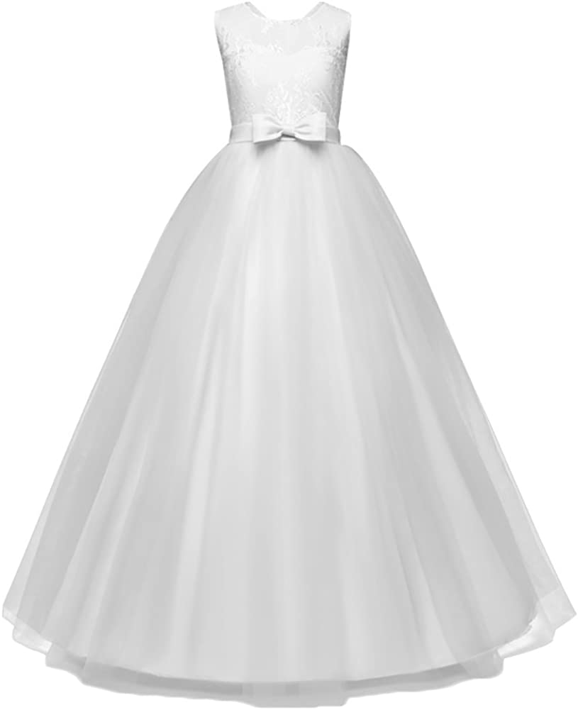WAWALI Girls Wedding Lace Dress Elegant Party Pageant Formal Gowns