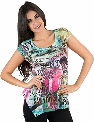 Sweet Gisele New York Women T Shirt with Vivid Colors & Fancy Rhinestones (XS)