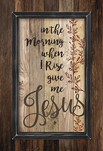 In the Morning When I Rise Give me Jesus Rustic 36 x 25 Wood Framed Pallet Wall Art Sign Plaque