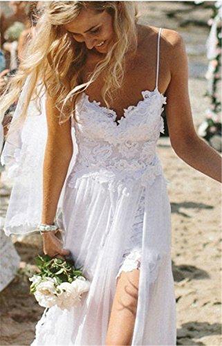 SHUNLIU Vestidos de Fiesta Vestidos Largos de Mujer de Encaje sin Mangas Vestido de Novia Blanco