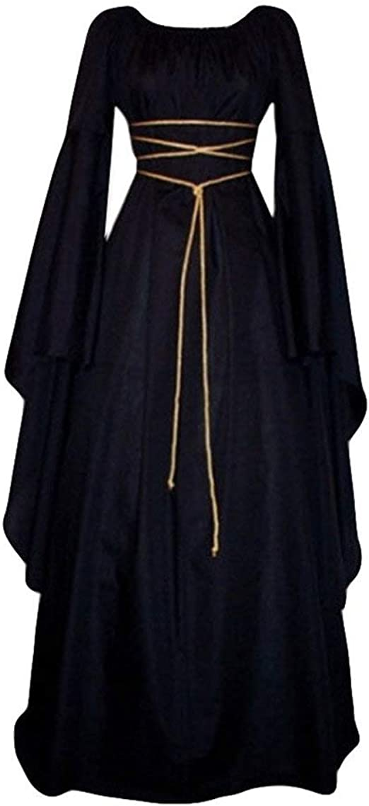 Womens Medieval Costumes Hooded Patchwork Renaissance Cloak Lace Up Strappy Gothic Vintage Coat