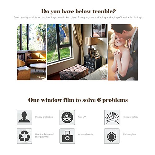 Window Heat Control Film Kit Anti-UV One Way Mirror Film Privacy Static Glass Films Non-Adhesive Window Tint for Home and Office, 35.4 inch x 6.5 Feet (Silver) by WochiTV (Image #4)