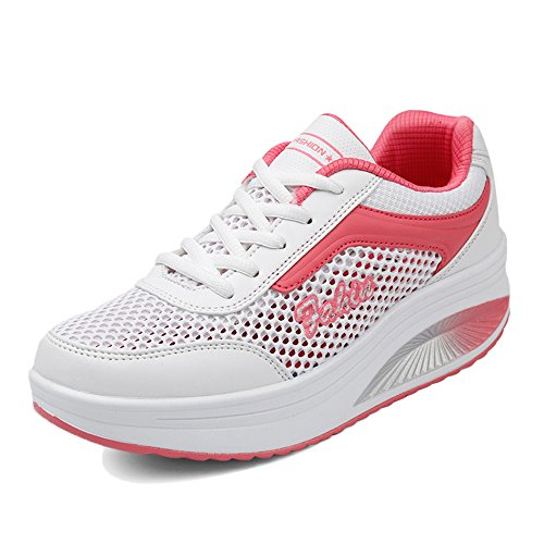 EnllerviiD Women Lace Up Platform Fitness Work Out Sneakers Shape UPS Walking Shoes Rx8388 White I1ui2cs