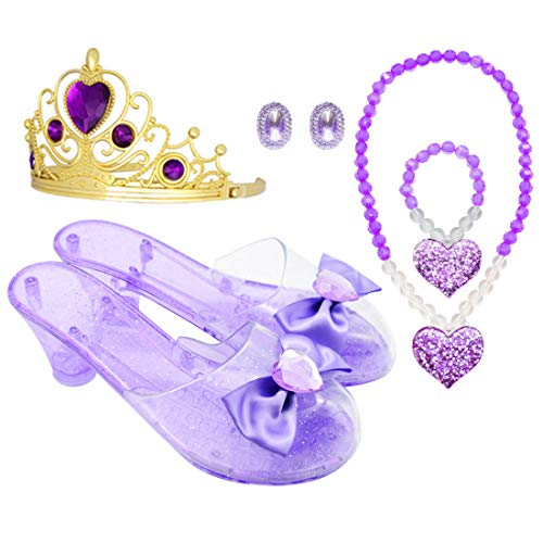 Princess Accessory Dress Up Set,Shoes Necklace Earrings and Tiara Set,Fashion Beauty Set for Girls (Pur)]()