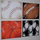 SPORTS BALLS art for kids' rooms * 4 paintings 16X20 inches each * HUGE