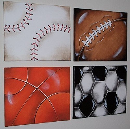SPORTS BALLS art for kids' rooms * 4 paintings 16X20 inches each * HUGE by AUSTIN ARTWORKS