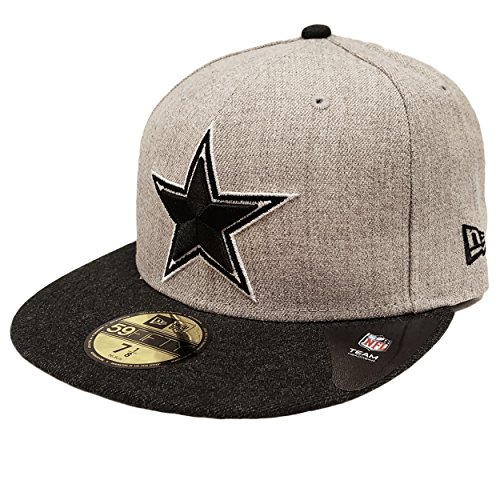 [New Era 59Fifty Dallas Cowboys Heather Action Fit Fitted 7 3/4 Cap Hat Gray & Black] (Mens Dallas Cowboy Football Costumes)