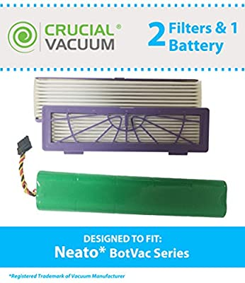 Replacements for Neato Botvac 2 Filters & 1 Battery Fits 70e, 75, 80 & 85 Series, Compatible With Part # 945-0123 & 945-0129, by Think Crucial