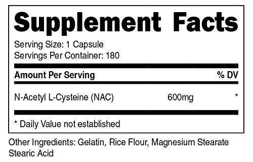 Nutricost N Acetyl L Cysteine (NAC) 600mg; 180 Capsules