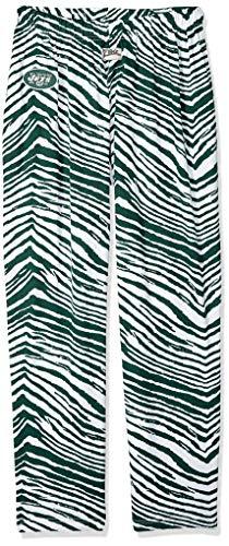 Zubaz NFL New York Jets Men's Classic Zebra Printed Athletic Lounge Pants, Green/White Medium
