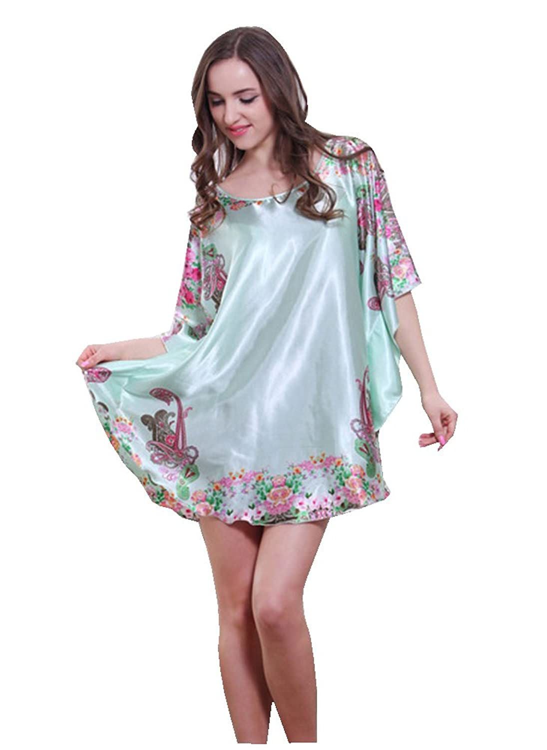OrangeTag Women\'s Short Batwing Sleeve Plus Size Nightgown Blue at ...