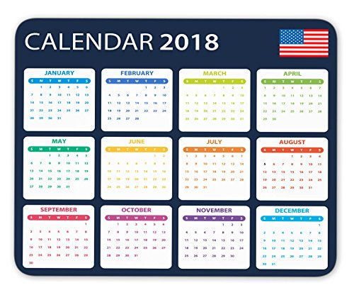 USA Calendar for 2018 Mouse pad gaming mouse pad Mousepad Nonslip Rubber Backing
