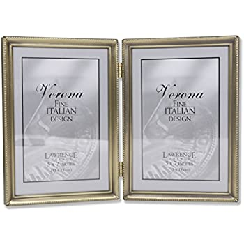 Amazon.com - Lawrence Frames Antique Brass 5x7 Hinged Double Picture ...