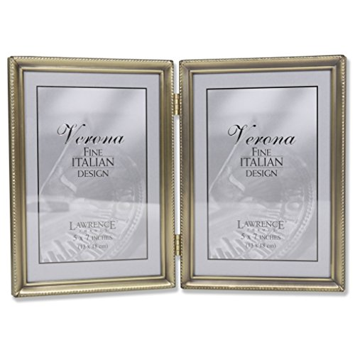 Lawrence Frames Antique Brass 5x7 Hinged Double Picture