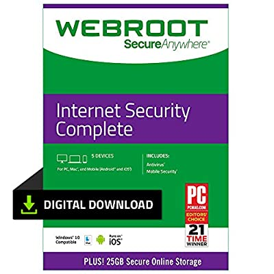 Webroot Antivirus Protection Internet Security Complete 2018 | 5 Devices |1-month subscription