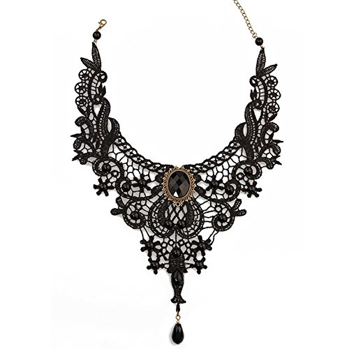 [LOOZEO Punk Retro Style Wedding Party Black Lace Choker Beads Tassels Chain Pendant Necklace] (Gothic Bride Halloween Makeup)