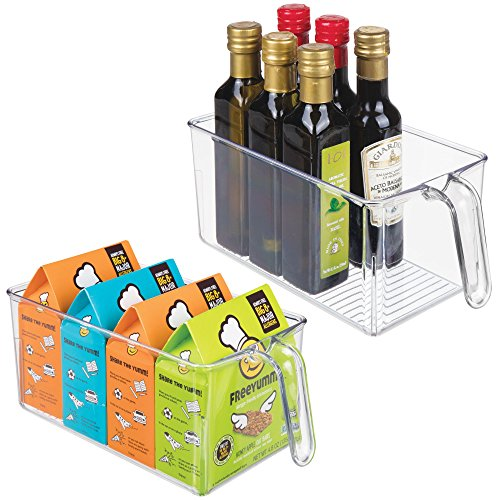 Plastic Kitchen Pantry Cabinet Refrigerator Storage Organizer Bin Holder with Front Handle - for Organizing Individual Packets, Snacks, Produce, Pasta - BPA Free - Medium, 2 Pack - Clear