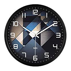 12-Inch Non-Ticking Silent Wall Clock With Modern and Nice Design For Living Room Large Kitchen, Metal Frame Round Wall Clock Battery Operated(Clock-705) (Black)