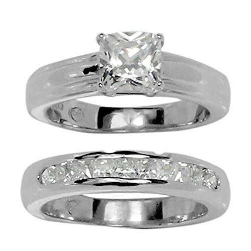 Princess Prong Set - Classic Princess Cut Prong Set CZ Wedding Set Style Ring in Stainless Steel Size 8