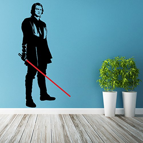 (20'' x 39'') Star Wars Vinyl Wall Decal / Anakin Skywalker with Lightsaber Die Cut / Young Darth Vader Art Decor Self Adhesive Sticker + Free Decal -