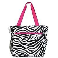 World Traveler 13.5 Inch Beach Bag, Pink Trim Zebra, One Size