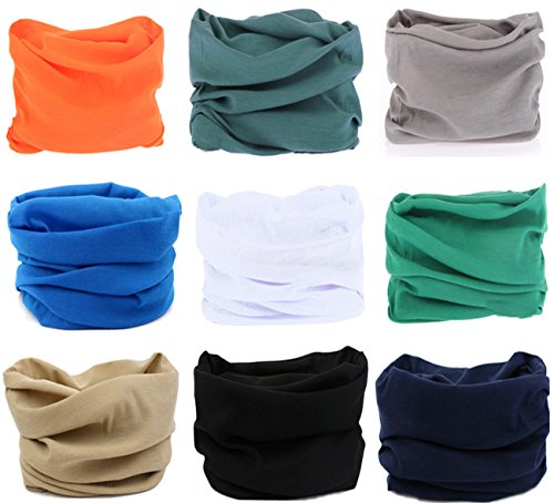 Elastic Face (Kingree 9PCS Outdoor Multifunctional Sports Magic Scarf, High Elastic Magic Headband with UV Resistance, Headscarves, Headbands,(9 Solid Color (D)))