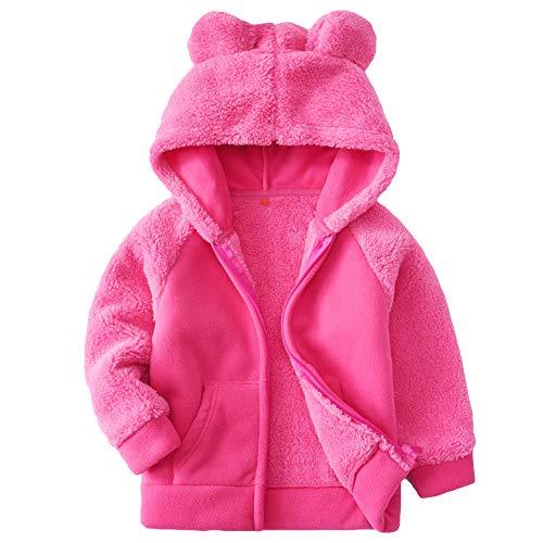 Goodkids Bear Ears Shape Fleece Warm Hoodies Clothes Toddler Zip-up Light Jacket Sweatshirt Outwear for Baby Boys (Rose 110)