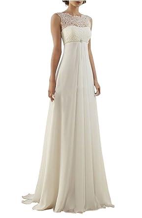 Elegant Lovelybride Empire Cap Sleeve Long Chiffon Lace Maternity Beach Wedding  Dress