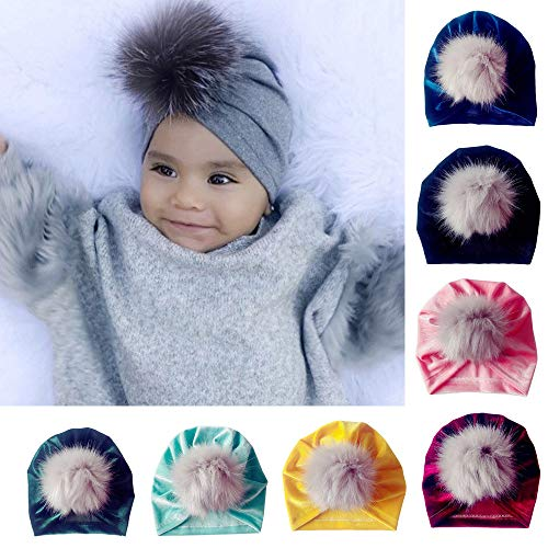 Gbell Newborn Toddler Venonat Turban Beanie Hat Kids Infant Headwear Hat Bonnets for Baby Boy Girl, Pom Pom Ball