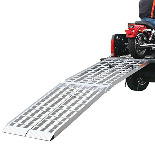 Rage Powersports MF2-12038 Folding Aluminum Motorcycle, ATV, UTV, Lawn and Garden Loading Ramp (