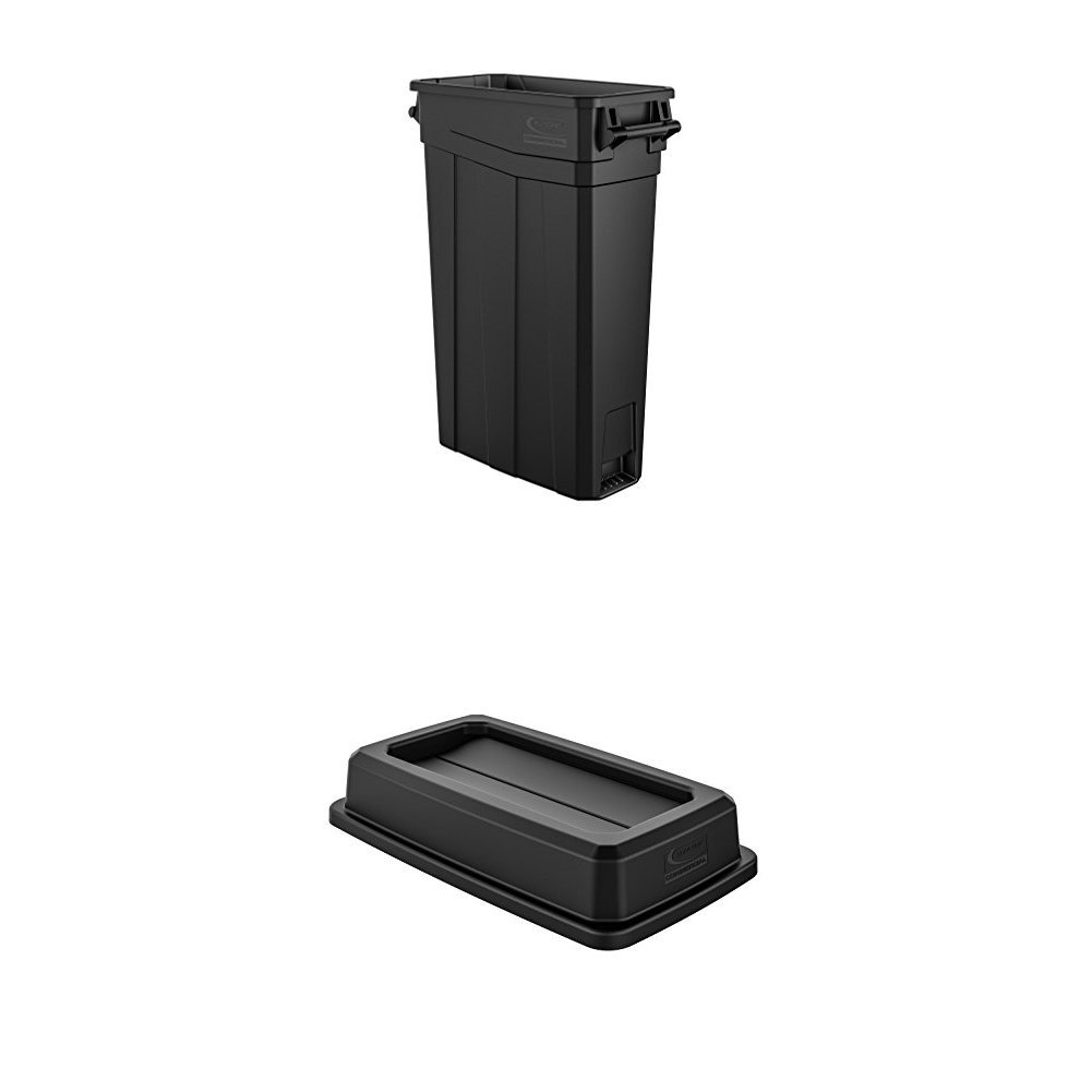 Suncast Commercial TCNH2030BK Narrow Trash Can with Handles, 30.00'' Height, 11.08'' Width, 23 gal Capacity, Plastic, Black Bundle