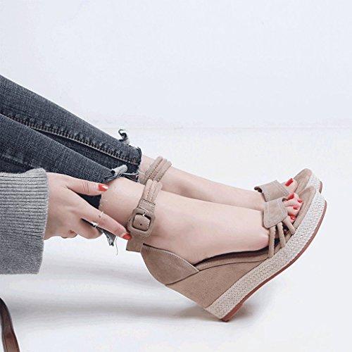Elegantes de talones cuña SANDALIAS Zapatos Negro Verano Albaricoque Color de plataforma 38 Tamaño punta con abierta mujer d4nnvq