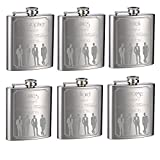 Wedding Flasks for Groomsmen and Groom, 6 Pack of 6oz Flasks, Personalized