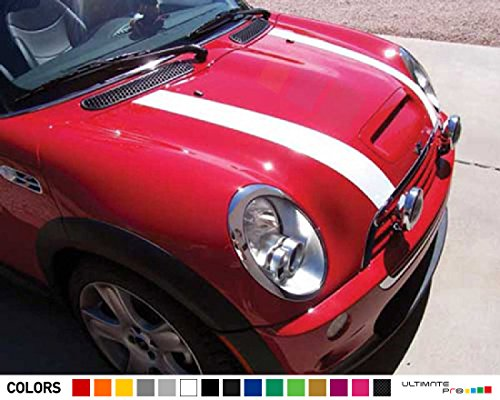 Pair of Bonnet Hood Stripes Kit Decal Sticker Graphic Compatible with Mini Cooper Hatchback ()