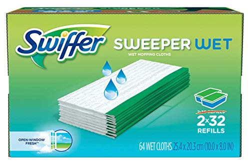 Sweeper Wet Mopping Pad Refills for Floor Mop with Febreze Lavender Vanilla & Comfort Scent 36 Count (64 Refills - Open Window Fresh)