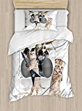 Ambesonne Animal Duvet Cover Set Twin Size, Cool Fancy Hard Cute Rocker Band of Kittens with Singer Guitarist Cats Artwork Print, Decorative 2 Piece Bedding Set with 1 Pillow Sham, Multicolor