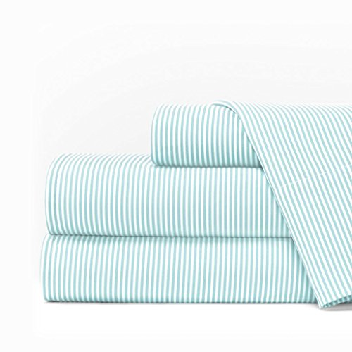 Egyptian Luxury 1600 Series Hotel Collection Pinstripe Pattern Bed Sheet Set - Deep Pockets, Wrinkle and Fade Resistant, Hypoallergenic Sheet and Pillowcase Set - Cal King - Aqua/White (1600 Series)