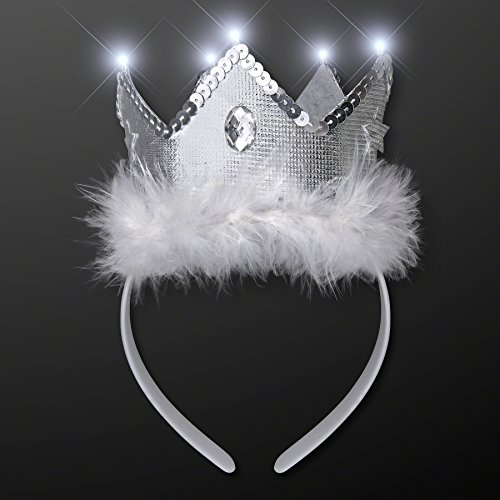 [Snow Queen White Light Up Tiara Headband] (Snow White The Queen Costume)