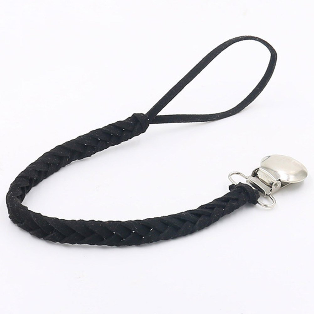 AIM Cloudbed Dummy Clips Baby Dummy Chain Handmade Suede Braided Leash Pacifier Holders Fits All Pacifiers for Boys and Girls Black//Brown//Grey//White