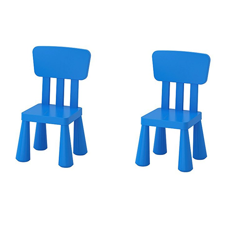 Ikea Mammut Kids Indoor / Outdoor Children's Chair, Blue Color - 2 Pack by IKEA