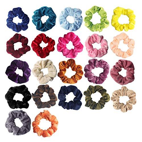 22 Pieces Hair Scrunchies Velvet Elastic Hair Bands Hair Scrunchy Ties Ropes for Women & Girls Hair Accessories - 22 Colors (22 Cotton Velvet Hair Scrunchies)