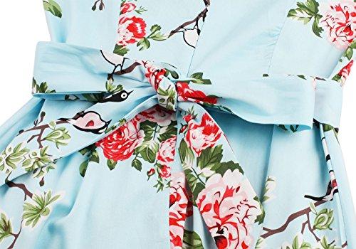Arco Vintage FAIRY DRT017 del Azul Oscilación COUPLE Floral con del del Partido Cóctel el Retro Vestido Floral de 50s SZx7awrS