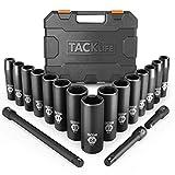 TACKLIFE 1/2-Inch Drive Master Deep Impact Socket Set, Metric, CR-V, 6 Point, 18-Piece Set - HIS1A